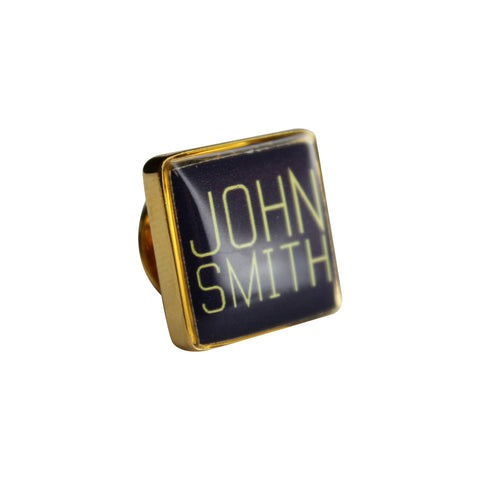 Printed First and Last Name Square Gold Lapel Pin