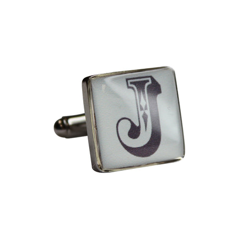 Printed Letter Silver Square Cufflinks