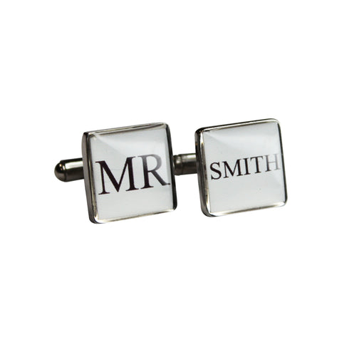 Printed 'Mr' Silver Square Cufflinks