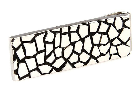 Abstract Mosaic Silver and Black Money Clip
