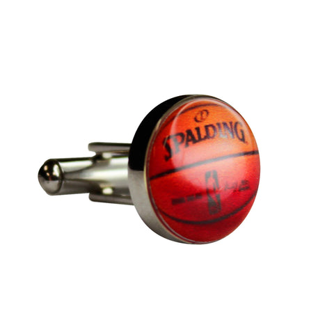 Round Printed Basketball Cufflinks