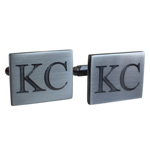 Brushed Rectangle Engraved Gunmetal Cufflinks