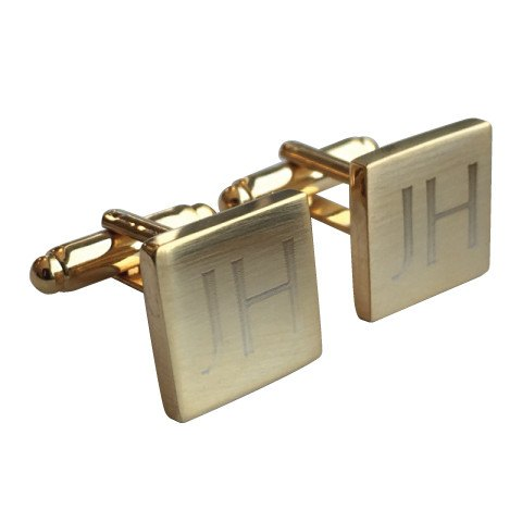 Brushed Square Engraved Gold Cufflinks