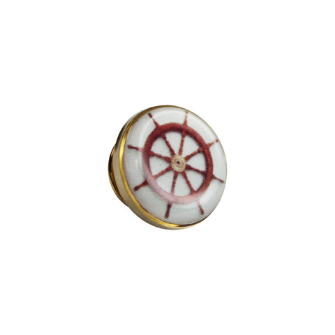 Printed Ship Steering Wheel Round Lapel Pin
