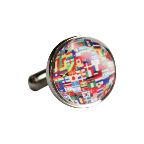 Printed Flags of the World Round Cufflinks