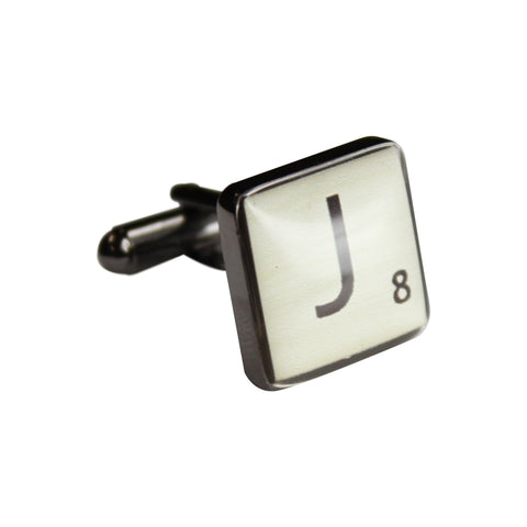 Printed Scrabble Letter Square Gunmetal Cufflinks