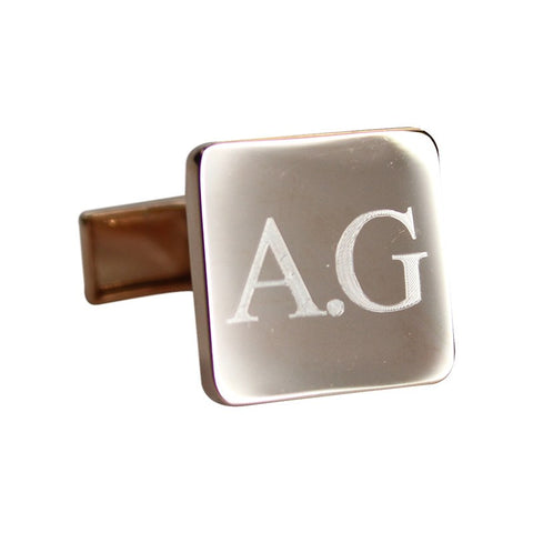 Personalised Engraved Square Rose Gold Cufflinks