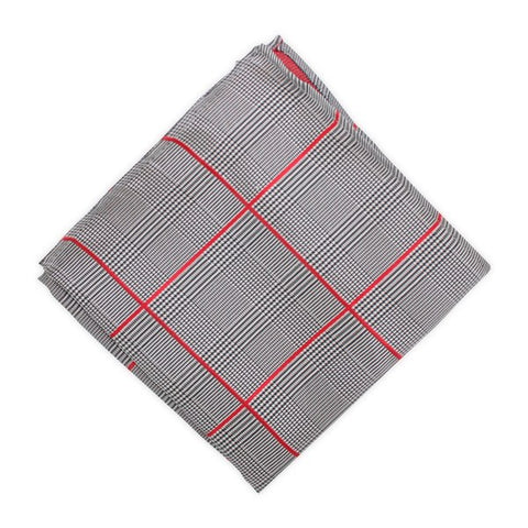 Red Striped Grey Plaid Pocket Square