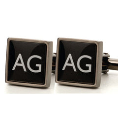 Copy of Gunmetal Square Printed Initial Cufflinks
