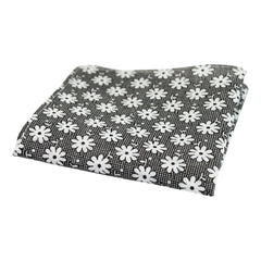 Black and White Floral Check Pocket Square