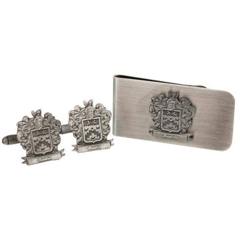 Custom Personalised Shield Cufflinks + Money Clip