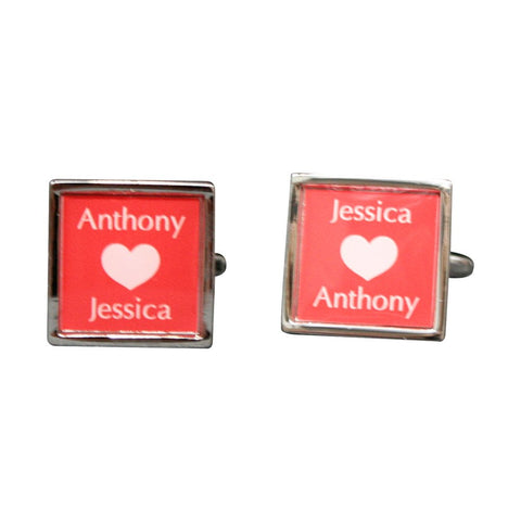 Silver Square Printed Love Cufflinks