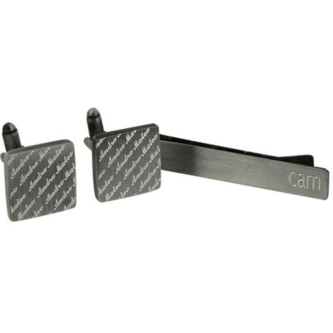 Brushed Engraved Diagonal Cufflinks and Tie Bar set