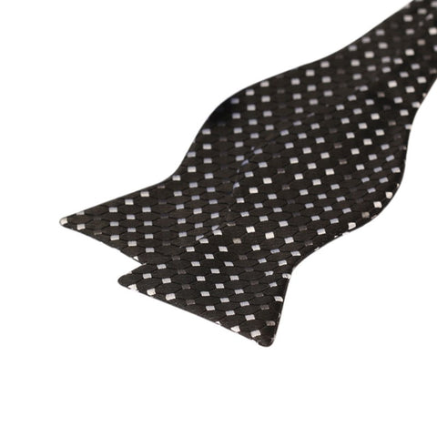Tie Your Own Bow Tie - Black and Silver Diamond Pattern