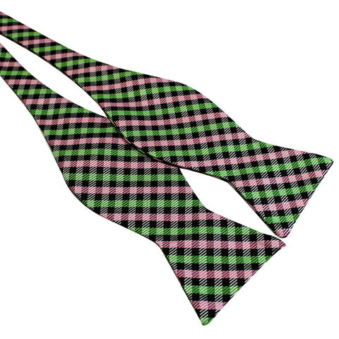 Tie Your Own Bow Tie - Green and Pink Gingham
