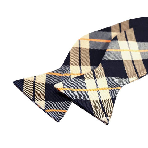 Tie Your Own Bow Tie - Navy and Gold Tartan