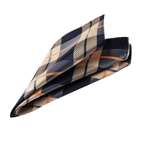 Navy and Gold Tartan Pocket Square