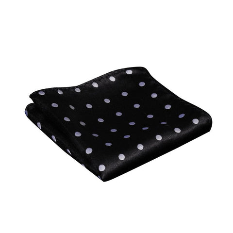 Black and Silver Polka Dot Pocket Square