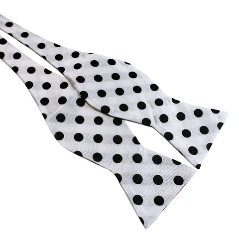 Tie Your Own Bow Tie - White and Black Polka Dot