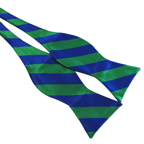 Tie Your Own Bow Tie - Blue and Aqua Striped