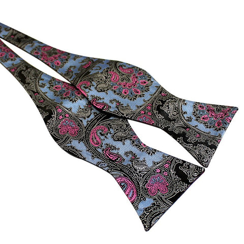 Tie Your Own Bow Tie - Blue and Pink Paisley