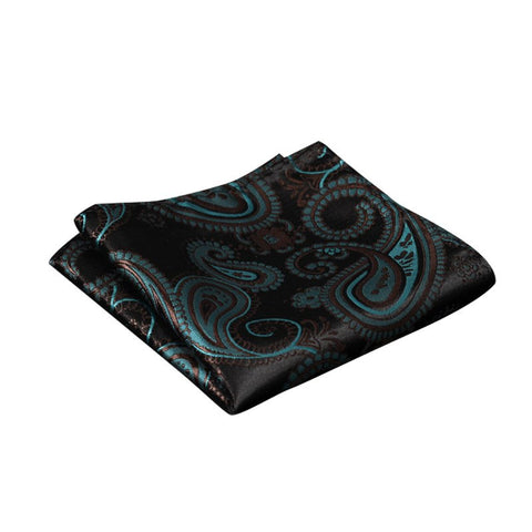 Teal and Black Paisley Pocket Square