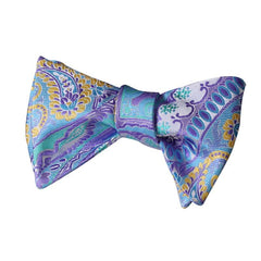 Tie Your Own Bow Tie - Blue Purple and Yellow Paisley