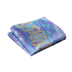 Blue Purple and Yellow Paisley Pocket Square