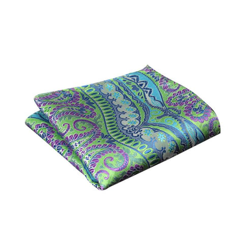 Blue Purple and Lime Paisley Pocket Square