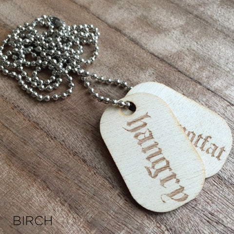 Personalised Laser Engraved Wood Dog Tags