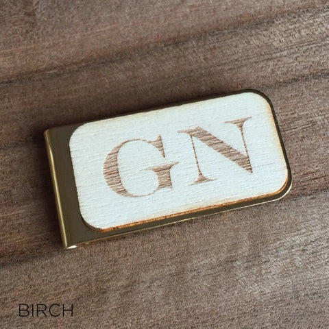 Personalised Laser Engraved Initial Wood Money Clip
