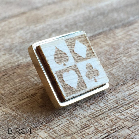 Personalised Square Laser Engraved Image Wood Lapel Pin Small