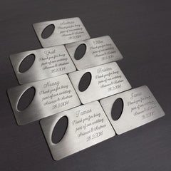 Personalised Brushed Bottle Opener with Oval Cut Out Sets - Multiple Qty