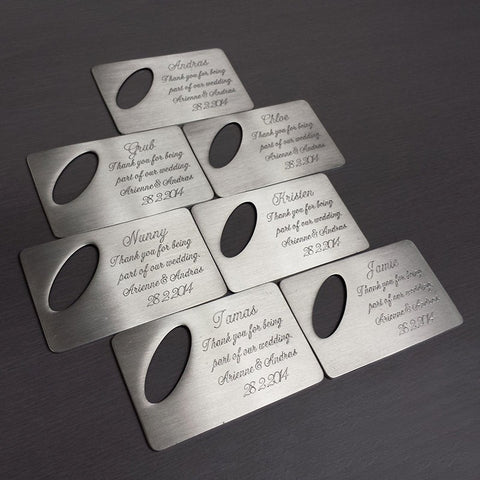 Personalised Brushed Bottle Opener with Oval Cut Out - Matching Set