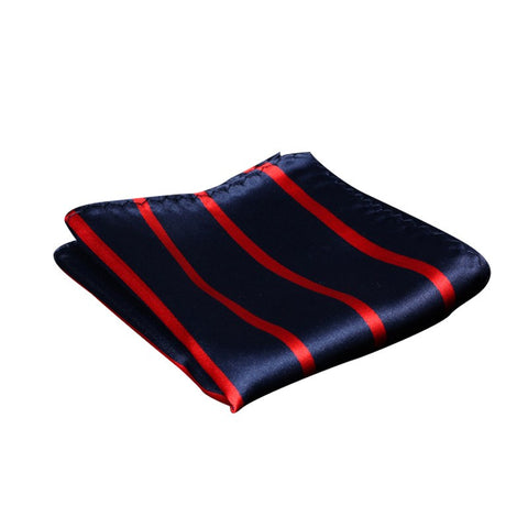 Navy and Red Striped Pocket Square