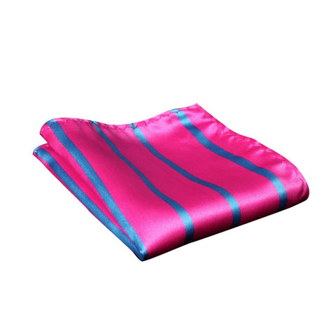 Pink and Blue Striped Pocket Square