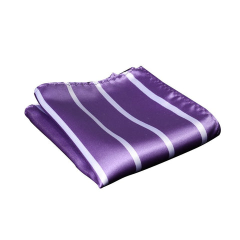 Violet and White Striped Pocket Square