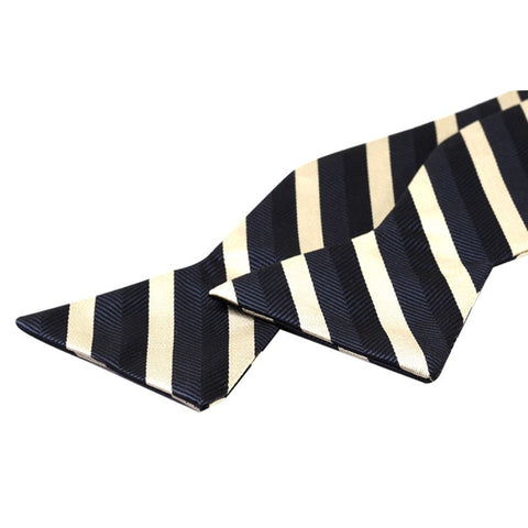 Tie Your Own Bow Tie - Navy and Gold Striped