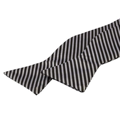 Tie Your Own Bow Tie - Silver and Black Striped