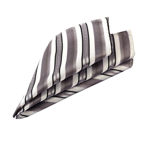 Grey and White Striped Pocket Square