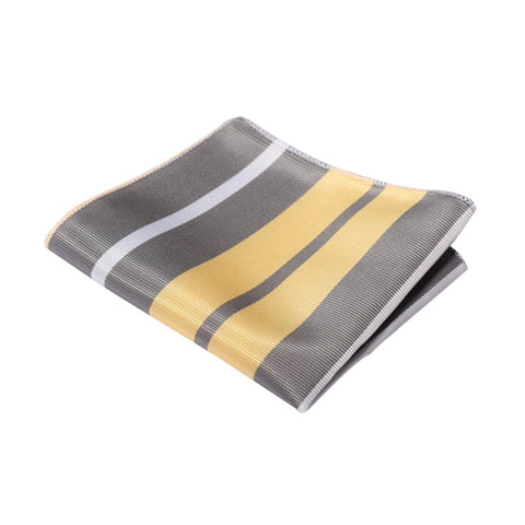 Yellow and Grey Striped Pocket Square