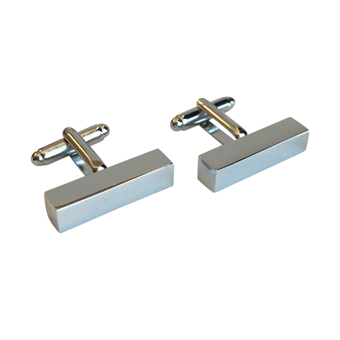 Rectangle Block Silver Cufflinks