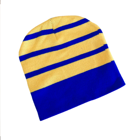 Supporter Beanies - Blue Yellow Striped