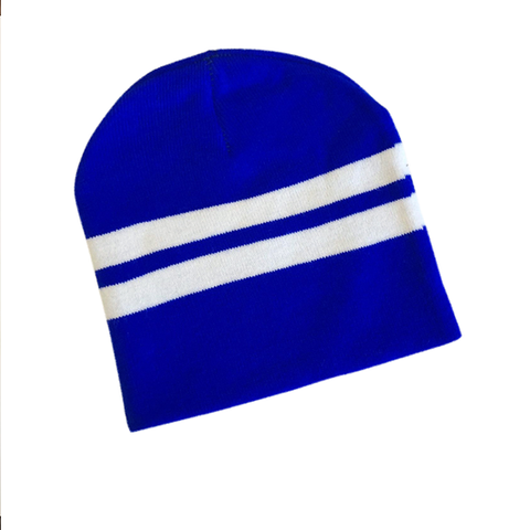 Supporter Beanies - Blue White Striped
