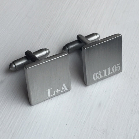 Personalised Engraved Brushed Initial & Date Silver Cufflinks