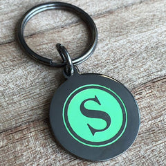 Colour Engraved Round Gunmetal Key Ring