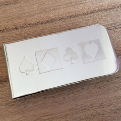Deep Etched Engraved Silver Money Clip