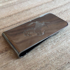 Deep Etched Engraved Gunmetal Money Clip
