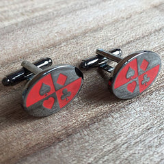 Colour Engraved Oval Gunmetal Cufflinks