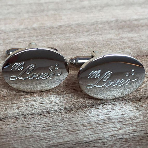 Deep Etched Engraved Oval Silver Cufflinks